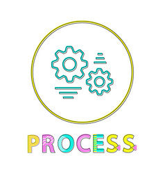 process web round button linear bright template vector image