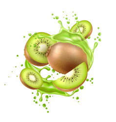 realistic fresh kiwi exotic fruit flow vector image