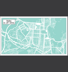 Salta argentina city map in retro style outline vector
