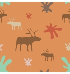 Seamless orange background deer and flowers vector