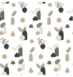 seamless pattern with vases and leaves concept vector image
