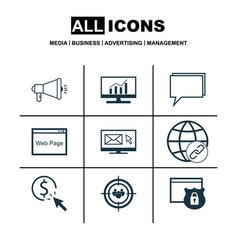 Set of 9 seo icons includes media campaign vector