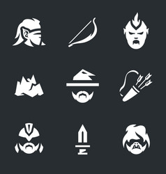 set of halloween monsters icons vector image