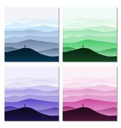 set of minimalistic mountain landscape vector image