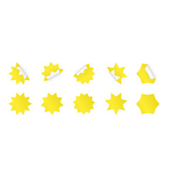 set sunburst sticker yellow starburst badges vector image