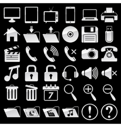 set web and media icons vector image