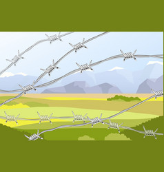 Several lines realistic barbed wire on vector