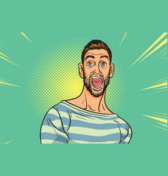 Shocked hipster bearded american businessman with vector