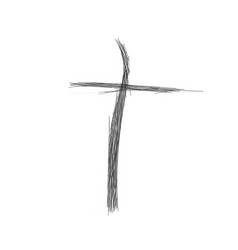 Sketch christian cross church logo made out of vector