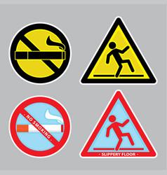 slippery floor and no smoking logos vector image