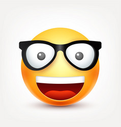 Smileyemoticon with glasses yellow face with vector