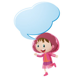 speech bubble template with girl in pink raincoat vector image