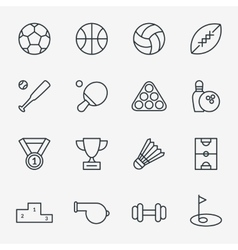Sport icons in thin line style vector