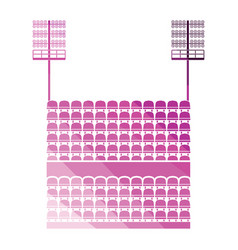 stadium tribune with seats and light mast icon vector image
