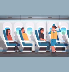 stewardess explaining safety instructions vector image