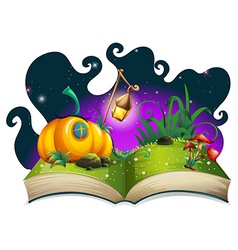 Storybook with pumpkin house at night vector
