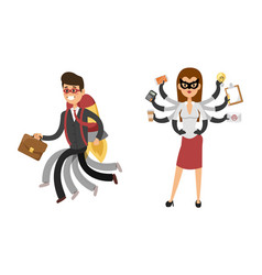 Superhero business man woman vector