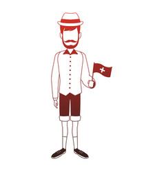 Swiss farmer man red lines vector
