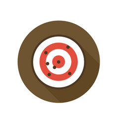 target with bullet holes flat icon shooting range vector image