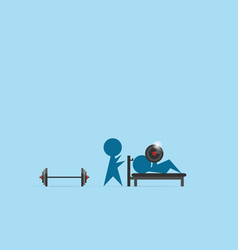 Trainer coach man lifting weights over head vector