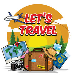Traveling cartoon set vector