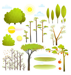 Trees nature landscape objects clip art collection vector
