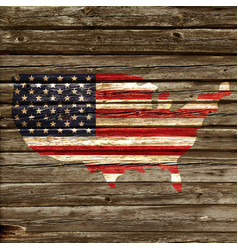 Usa flag map on old rustic timber wall vector