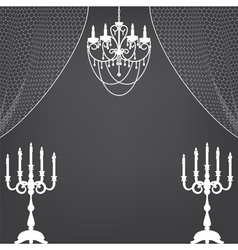 Vintage dark background with chandelier and vector image