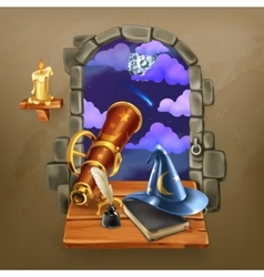 window in castle vector image