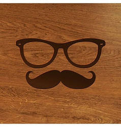 Wooden Background With Hipster Symbol vector image