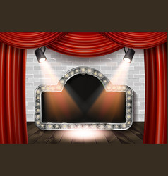 wooden stage with red curtain and white brick vector image