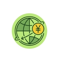 Yen money transfer flat icon vector