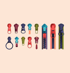 zipper and sliders puller set metal clasp and vector image