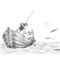 fisherman drawing vector image vector image
