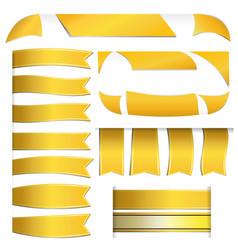 gold ribbons and banners on white background vector image