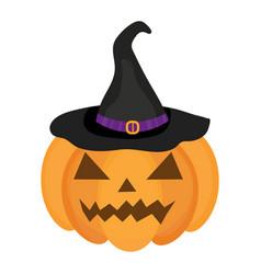 halloween pumpkin icon flat style isolated on vector image
