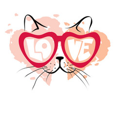 Valentine card - enamored cat vector