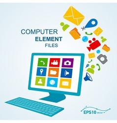 computer display keyboard icon vector image