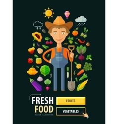 Fresh food logo design template Gardening vector image vector image
