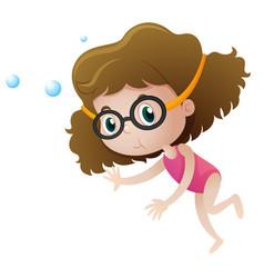 little girl diving underwater vector image vector image