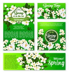 spring floral template for card and banner design vector image vector image