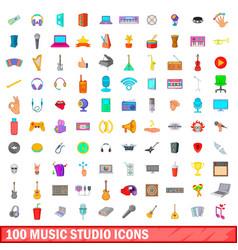 100 music studio icons set cartoon style vector image