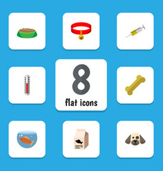 flat icon animal set of vaccine rabbit meal vector image vector image