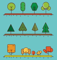 Flat linear set of different trees for design vector image