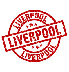 liverpool red round grunge stamp vector image vector image