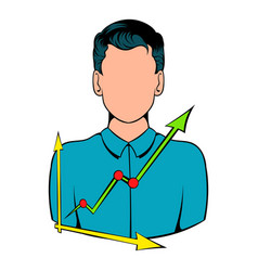 Businessman and graph icon cartoon vector