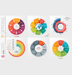 collection of 6 circle chart templates 7 vector image