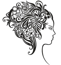 Girl with a beautiful flowers in her hair vector image vector image