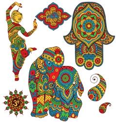 set of Indian symbols vector image