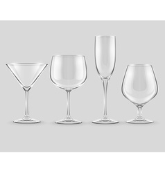 set of transparent glass vector image